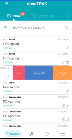 docuTRAK Inbox Page Mobile App Correspondence system